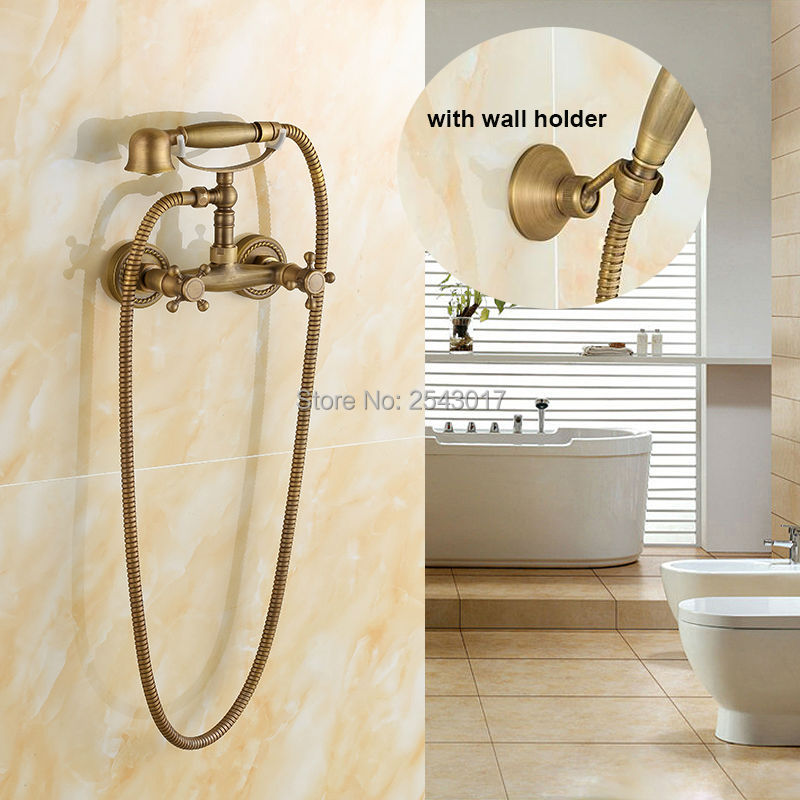 Wholesale and Retail Antique shower faucet Telephone Bathtub Shower Set Wall Mounted Hot and Cold Bath