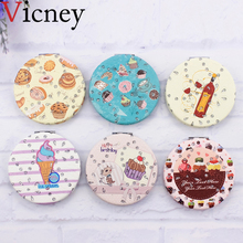 Vicney New design Portable Pocket Make Up Mirror Double Sides Ice cream dessert Cosmetic Makeup with Magnifying for Women Beauty