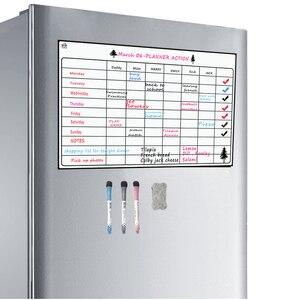 Image 5 - Manyetik kuru silme kurulu buzdolabı 3 marker ile haftalık planlayıcısı manyetik beyaz tahta planlayıcısı kurulu manyetik buzdolabı