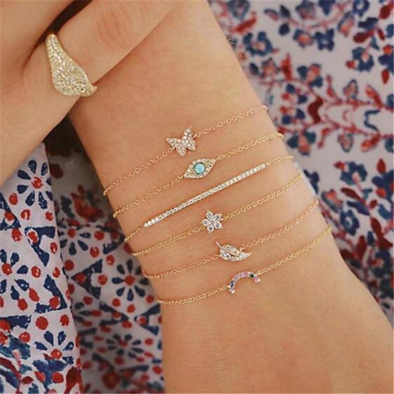 Ahmed 6 teile/satz Punk Schmetterling Auge Sterne Mond Blätter Kristall Shiny Gold Multilayer Kette Armband Set Frauen Partei Schmuck