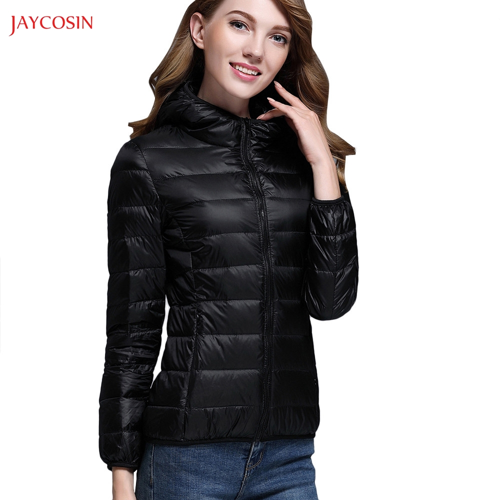 Jaycosin Clothes Women Hooded Light Down Jacket Ultra Light Puffer Jacket Solid Down Jacket Big Size Womens Down Jackets Brands