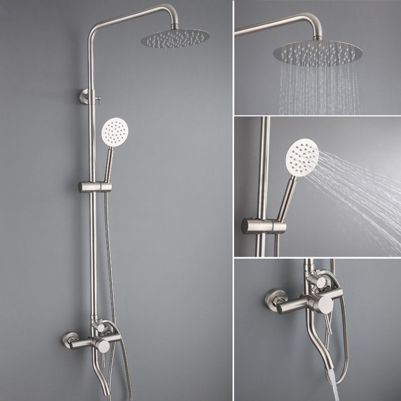 Bathroom Shower Faucet Set Stainless Steel Rainfall Shower Head Taps Tub Spout Wall Mounted Faucet Bath Shower Faucet Tap Set