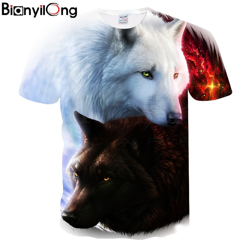 BIANYILONG Newest Harajuku Wolf 3D Print Cool   T  -  shirt   Men/Women Short Sleeve Summer Tops Tees   T     shirt   Fashion