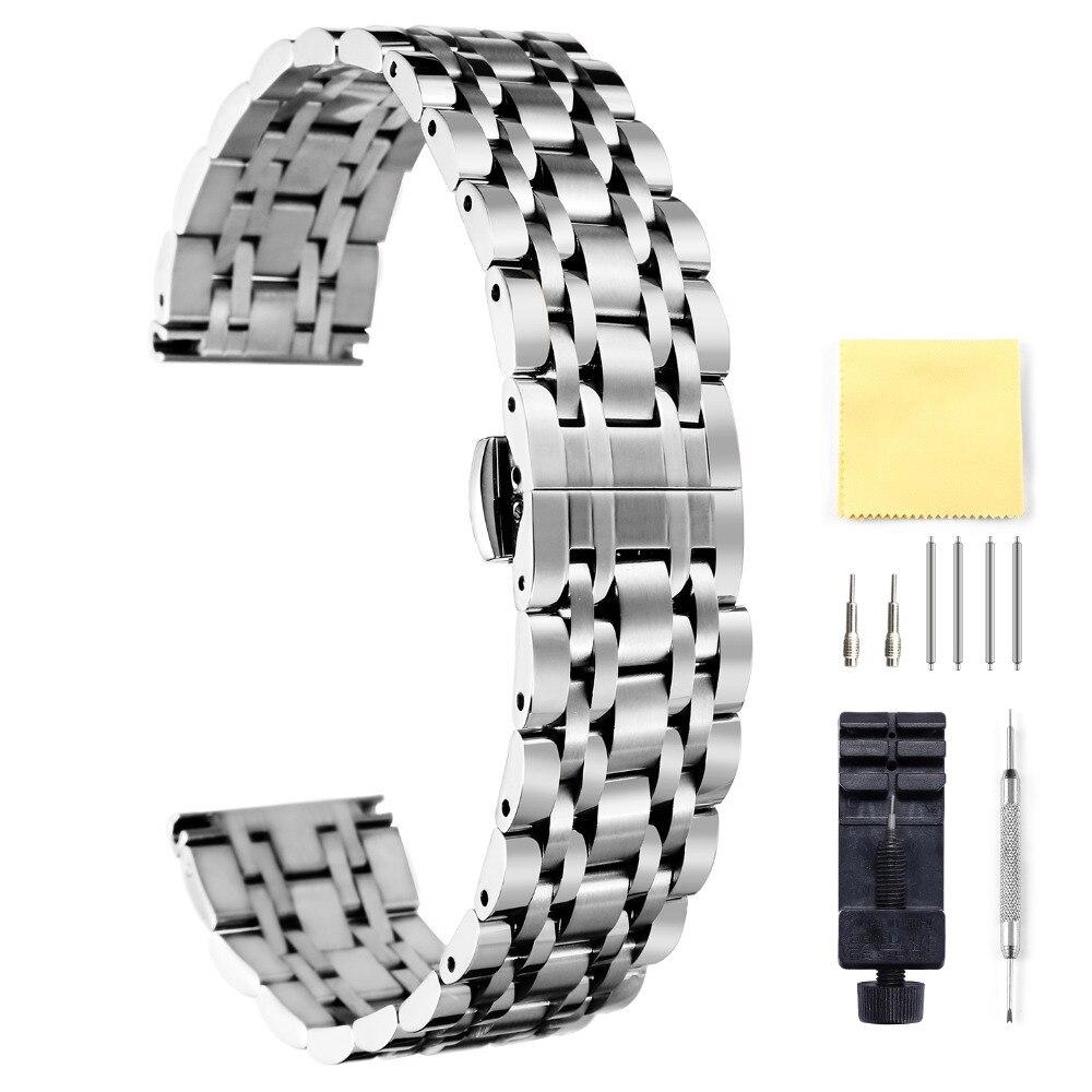 BINLUN Montre De Luxe Bracelet Montre En Acier Inoxydable Bande 16mm 18mm 20mm 22mm 24mm Étanche Sport sangle Durable Ne Se Fanent Montre Bande