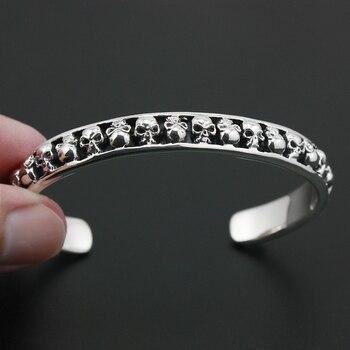 925 Sterling Silver Skulls Bangle Mens Biker Rokcer Punk Bangle 9A010 Fit 6.3 ~ 7.2 inches Wrist