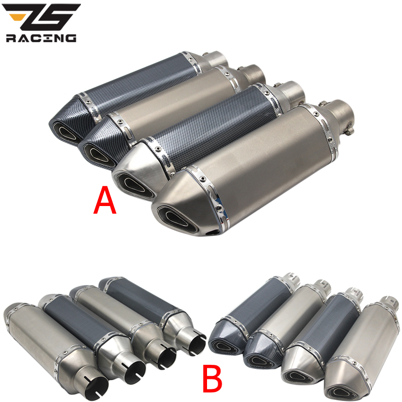 ZS Racing 51MM Motorcycle Akrapovic Exhaust Pipe With Muffler Moto Bike Pot Escape For Yamaha Honda