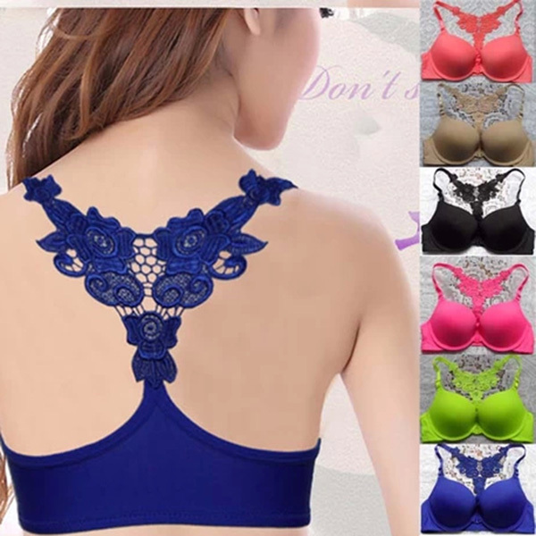 Front Closure Lace Padded Push Up Bra