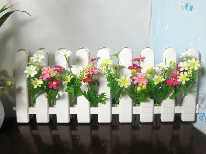 Plastic white picket fence fence plastic artificial flower crafts