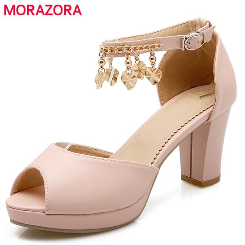 MORAZORA brand new fashion women sandals ankle strap peep toe platform open toe thick high heels party wedding shoes woman nemaone new fashion ankle strap open toe