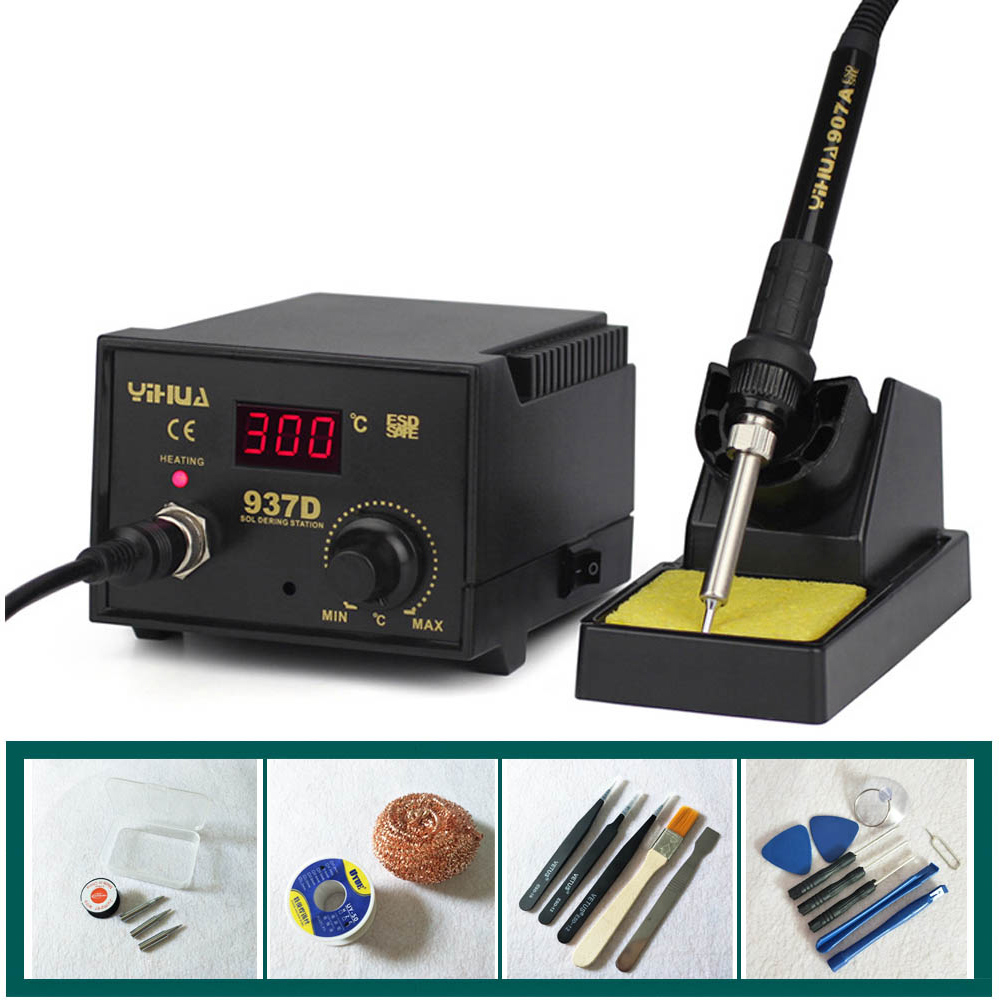 High quality 110V/220V 45W YIHUA 937D YIHUA 936 937D+ Constant Temperature Antistatic Soldering Station Solder Iron yihua 862d 750w constant temperature antistatic soldering station solder iron heat air gun