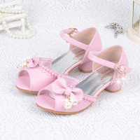 Summer Elegant Leather Dress Shoes Fancy Slippers For 4 12Years Girls Wedding Dancing Ballet Sandals Kids