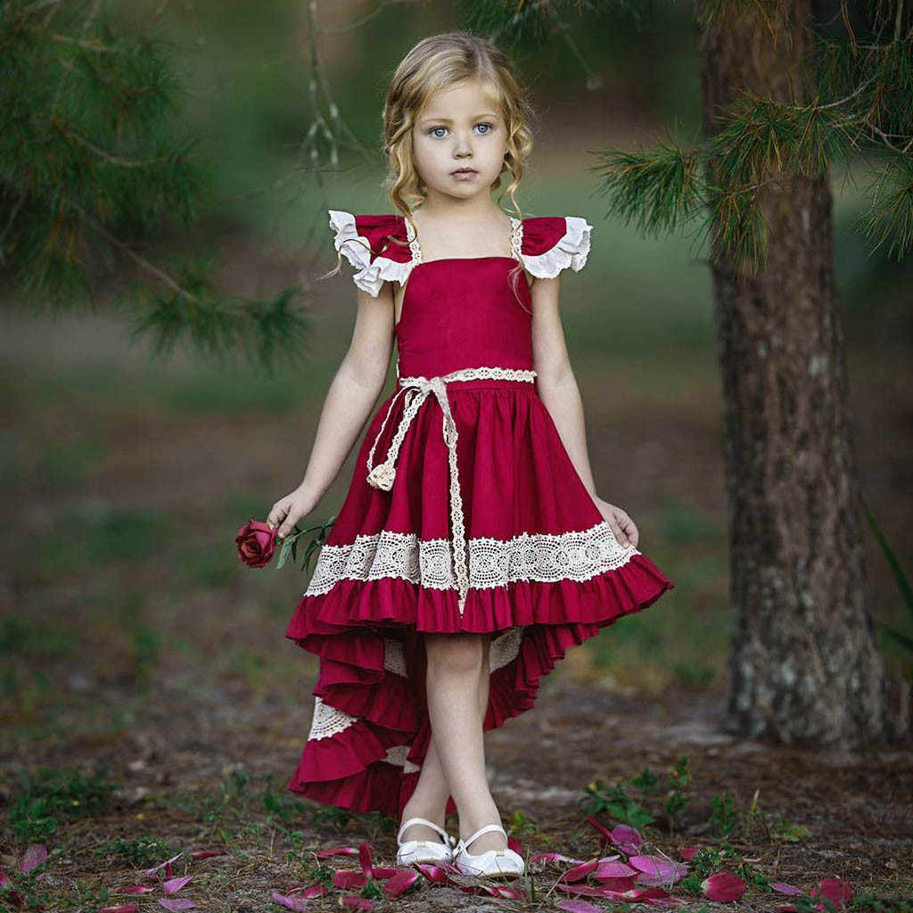 Leader Dresses 2019 Floral Baby Girl Kid Princess Bridesmaid Pageant Gown  Birthday Party Wedding Dress for Girls Baby Clothes