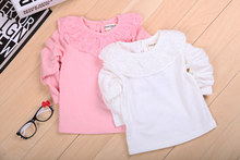 Baby Girls Long Sleeve tops Cotton Solid Tees T-shirt Baby Girls T-shirts clothing pink and white