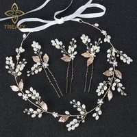 TREAZY Charm Gold Color Floral Headbands Pearl Crystal Bridal Hairpins Headdress Wedding Hair Accessories Bride Tiara