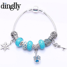 DINGLLY Fashion European Sky Blue Murano Beads Key Pendant Charm For Women Brand Brecelet For Gift(China)