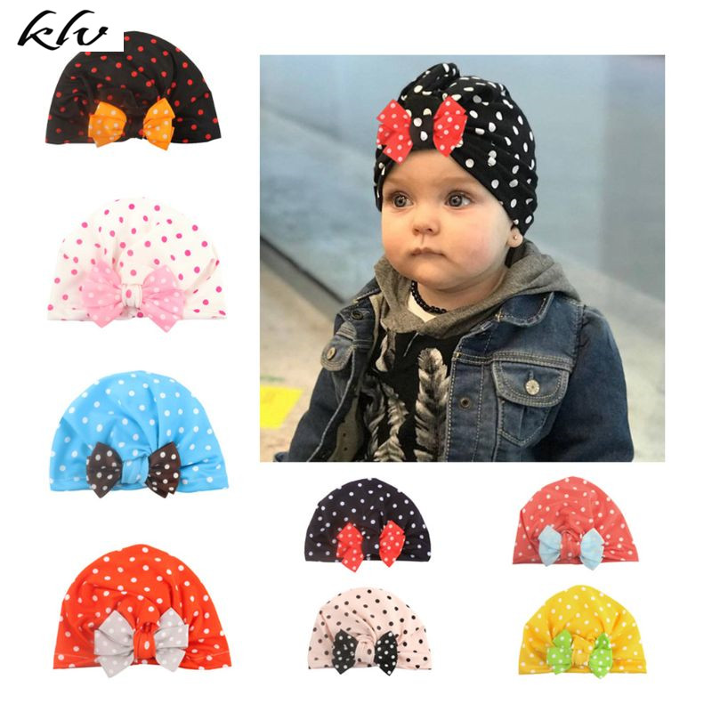 New Fashion Trend Baby Hat Kids Dot Bow Dome Cap Children Headgear Photography Props Headdress