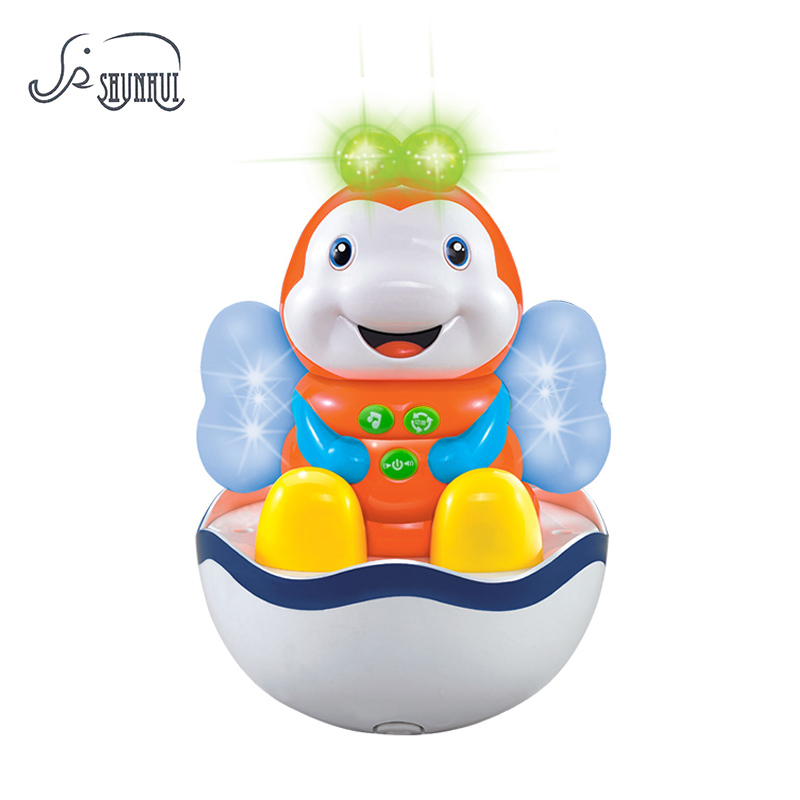 Baby Rattle Tumbler Nodding Mobil Doll Leksaker Brinquedos Musical Roly-Poly Ljus Cartoon Bee Toy Döda Gift För Barn