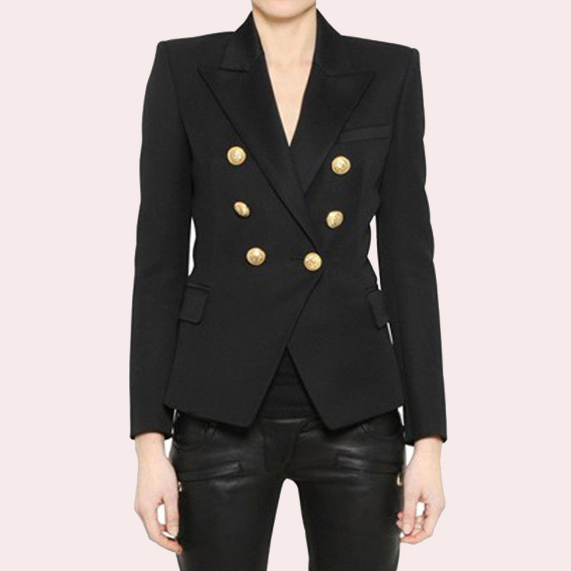 3bf1f9c6 EXCELLENT QUALITY 2018 Stylish Classic Designer Blazer for Women Double  Breasted Lion Metal Buttons Blazer Plus