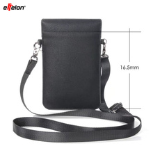 Effelon PU Leather Cell Phone Pouch Bag Shoulder Pocket Wallet Pouch Case Neck Strap For OPPO/Samsung/iPhone/Huawei Mobile Phone