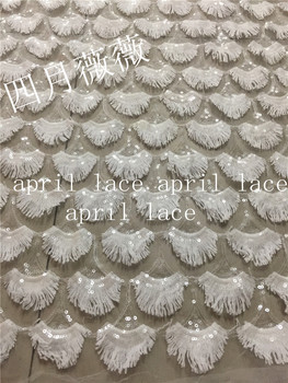 10 yards /lot A1394 offwhite ivory sequin  mesh new design embroidery  lace fabric for wedding dress