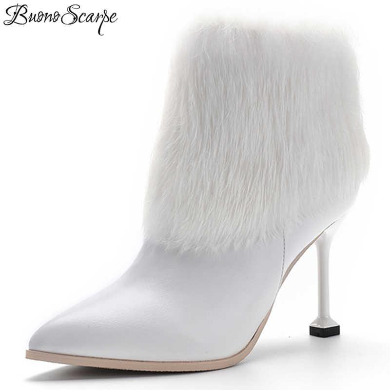 a719b093a4 BuonoScarpe Fur Women Boots Zipper Rabbit Hair Ankle Boots Mujer High Kitten  Heels Short Boots Winter