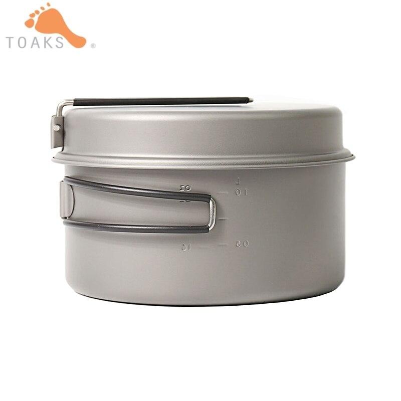 TOAKS 2 pièces titane extérieur Camping Pan 1350 ML ustensiles de cuisine avec poignée pliante pique-nique plats cuisine voyage ustensiles CKW-1350