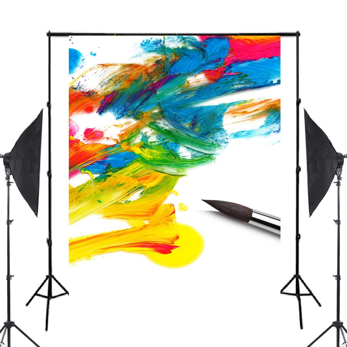 5x7ft Colorful Ink Painting Photography Backdrop Brush Background Art Photo Studio Backdrop in Photo Studio Accessories from Consumer Electronics