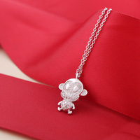 S925 Silver Jewelry Wholesale Sterling Silver Plated Platinum Full Diamond Monkey Necklace Chain Clavicle Meng