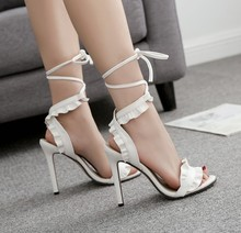 Flower Ruffle Lace-Up High Heels
