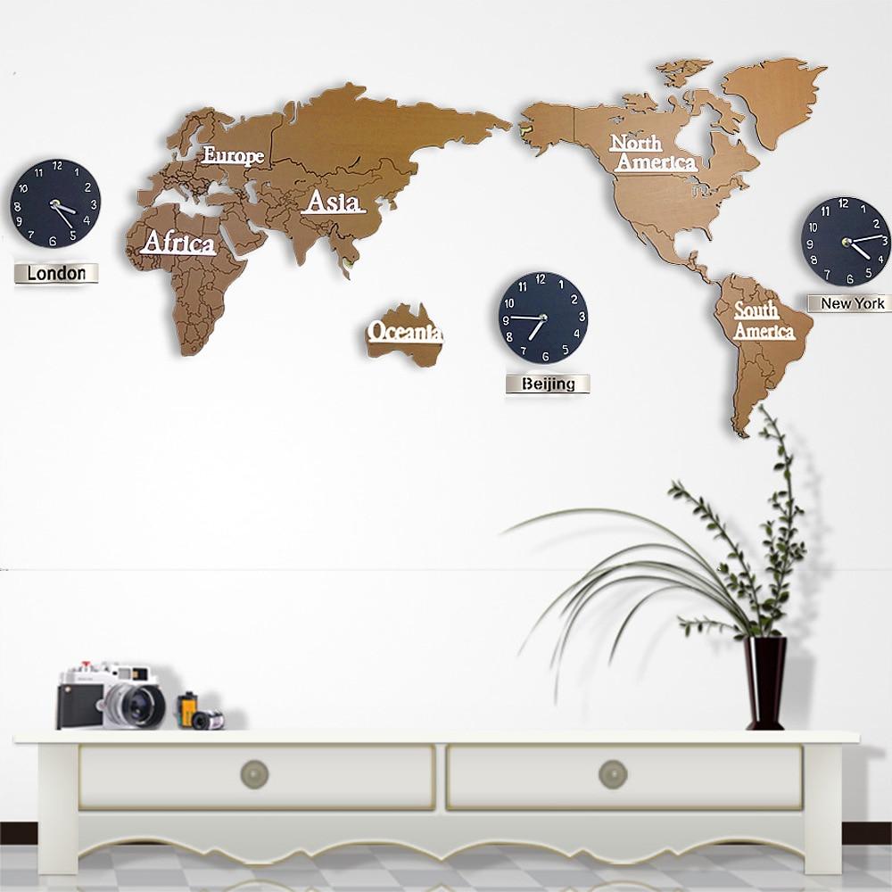 Hot sale creative 3d wooden wall clock world map large size wall undefined 1 undefined undefined gumiabroncs Images