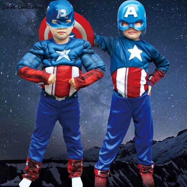 Film Di Halloween Per Bambini.Us 17 71 23 Di Sconto Captain America Cosplay Costume Per I Bambini Avengers Tute Maschera Muscolare Ragazzi Vestiti Film Di Supereroi Di Halloween