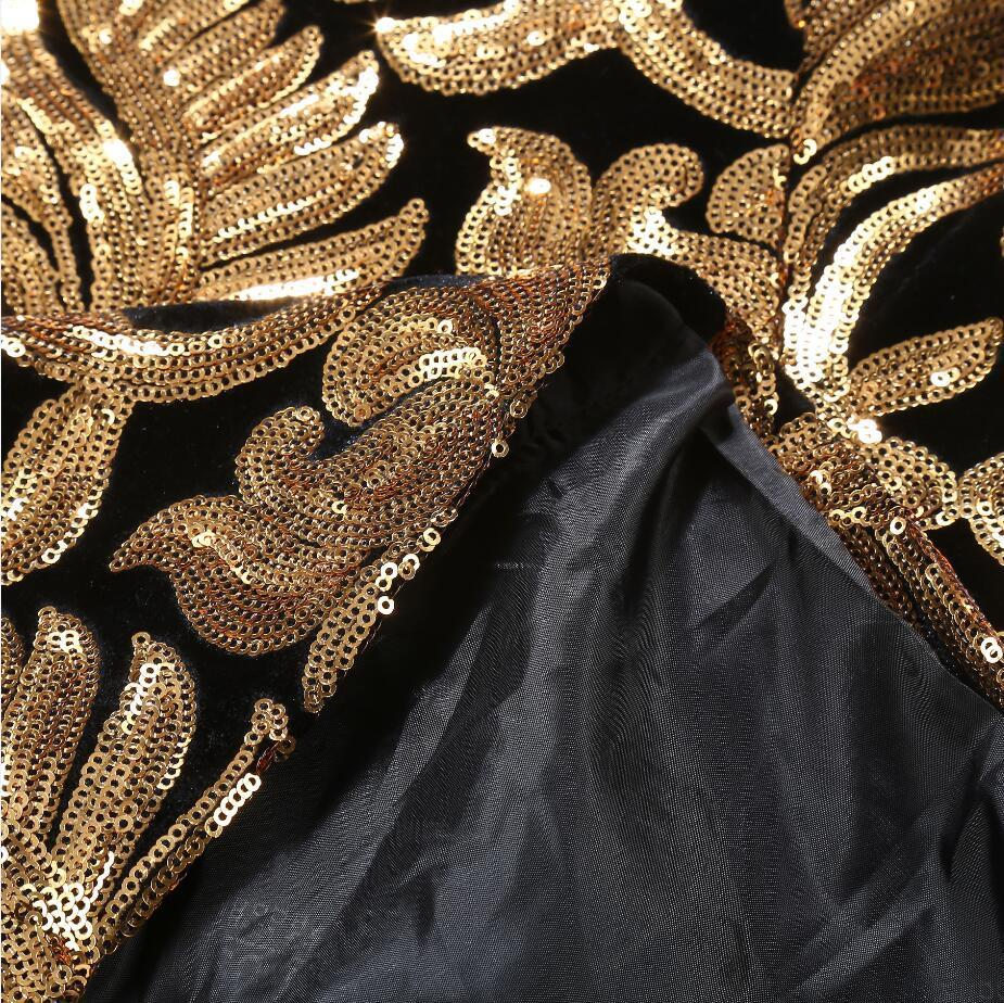 PYJTRL Hommes Châle blazer à revers Modèles grande taille 5XL Noir Velours Or Fleurs Paillettes Costume Veste DJ Stage Club Chanteur Vêtements - 6