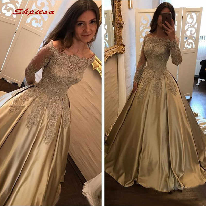 Gold Long Sleeve Lace Evening Dresses Party Satin Ball Gown Plus Size  Ladies Women Formal Dresses Evening Gown