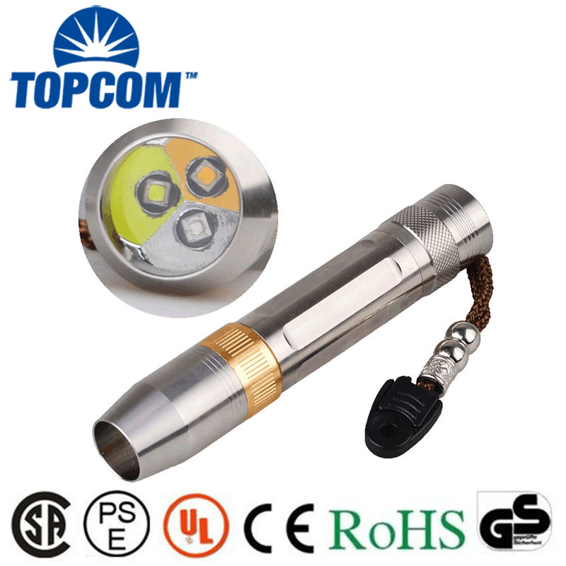 [Free ship] 5W LED White Light + UV Light + Yellow Light Torch Lamp Gem Jewelry Testing Flashlight with 18650 Battery white purple yellow light led flashlight stainless steel torch 18650 rechargeable uv torch olight jade identification href