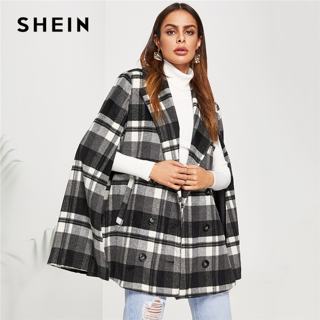 e29ab4b129 SHEIN Black And White Office Lady Elegant Double Breasted Plaid Pea Coat  2018 Autumn Fashion Highstreet