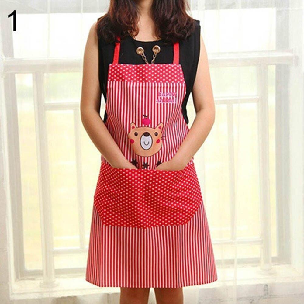 Hot Discount Summer New Men Women Fashion Cartoon Bear Stripe Dot Apron Waterproof Hot Sale Chef Kitchen Cooking With Pocket(China)