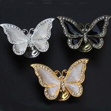 Модные креативные серебристые золотые бронзовые ручки с бабочкой для мебели прозрачный кристалл черный белый ящик для обуви шкаф ручка для шкафа