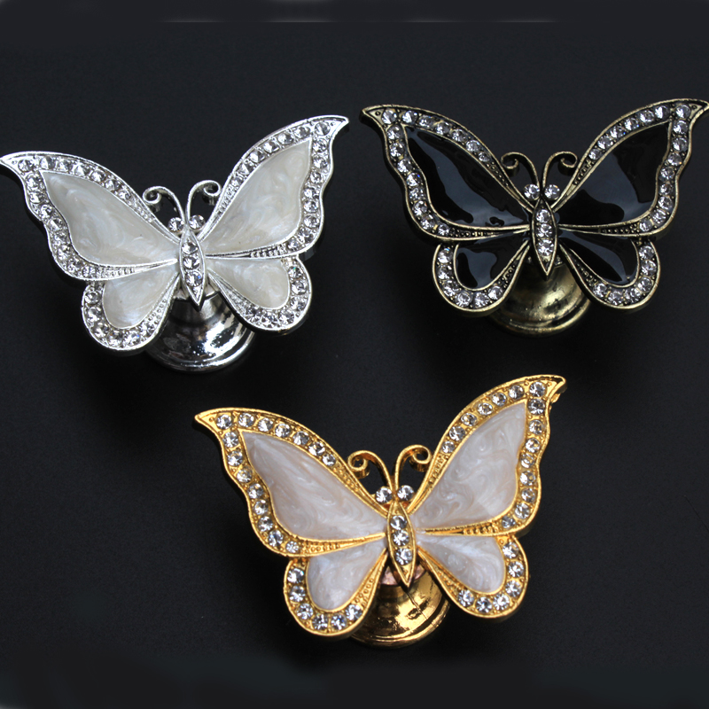 Moda Criativa ouro prata bronze borboleta móveis handle crystal clear preto branco sapato gaveta knob gabinete armário puxe