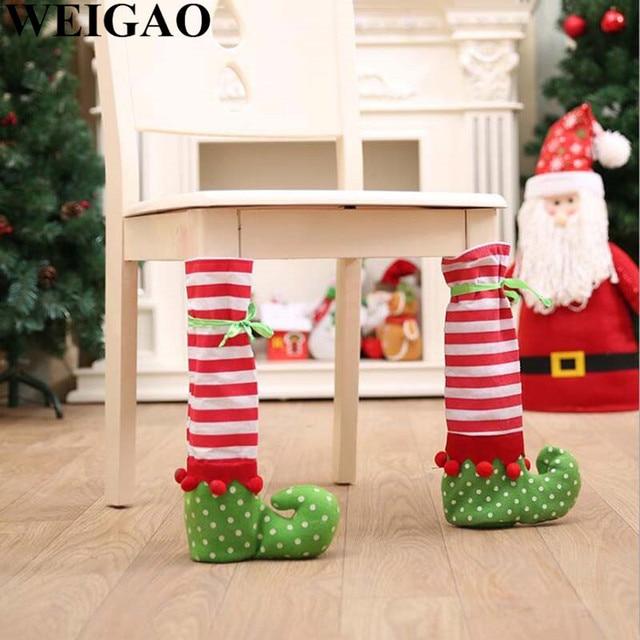 weigao 1pc christmas dinner table chair feet covers elf feet chair foot covers christmas party decorations - Elf Christmas Party Decorations