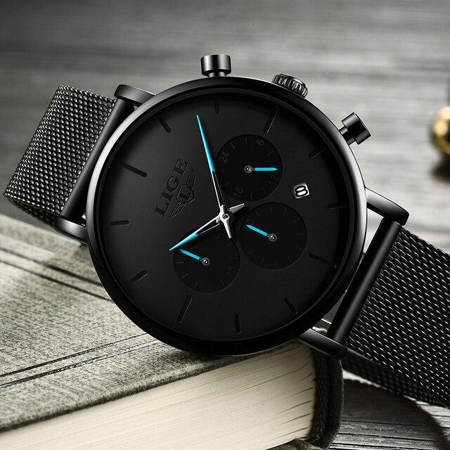 Relogio Masculino LIGE Mens Business Dress Watches Luxury Casual Waterproof Sports Watch Men Fashion Dial Quartz Slim Mesh Watch 3