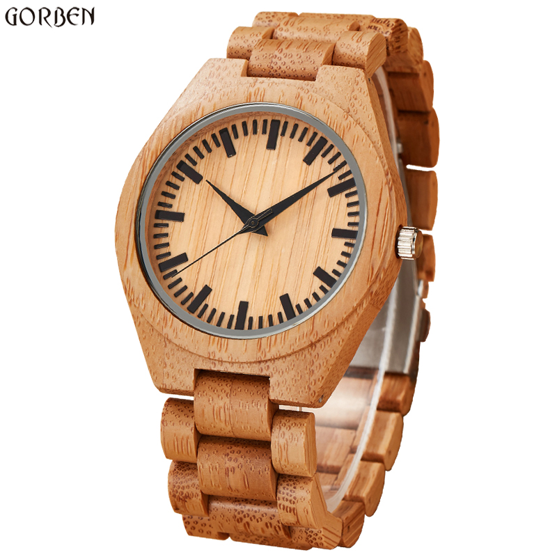 Creative Full Wood Watch Men Analog Natural Wood Bracelet Band Scale Dial Quartz Mens Wristwatches Male Clock relogio masculino unique handmade natural bamboo wood watch analog mens simple quartz wristwatch male genuine leather relogio masculino esportivo