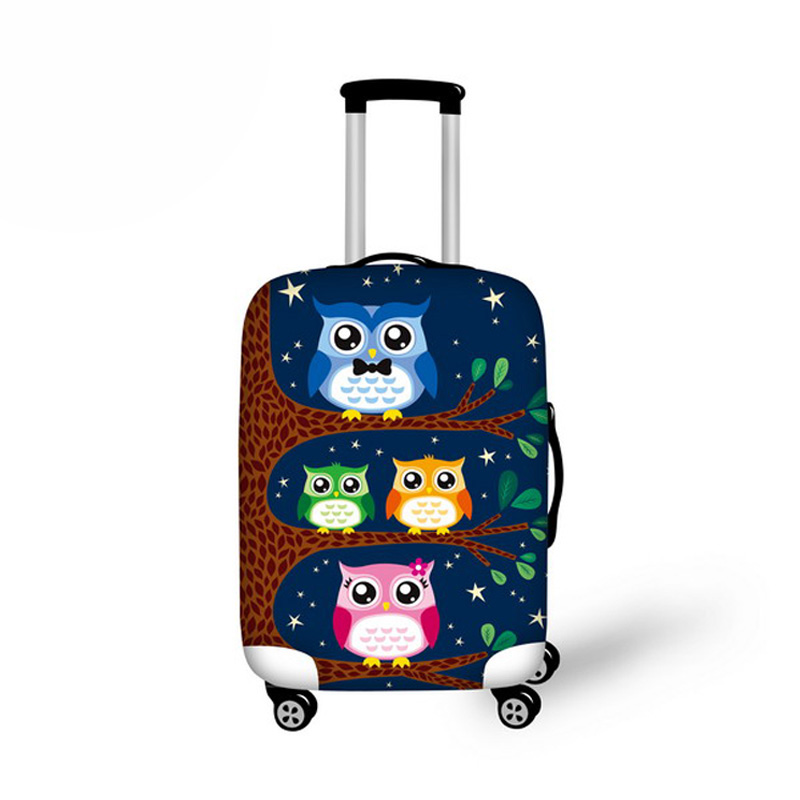 Travel Luggage Protective Covers Customize Cute Owl Printed Thick Elastic Suitcase Cover S/M/L For 18-30 Inch Cases