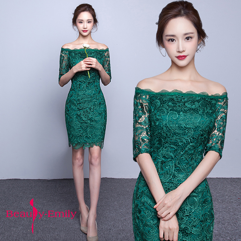 Beauty Emily Green Short Evening Dresses 2020 Elegant Lace Prom Dress Women Prom Gown Dress Sheath Bodycon Formal Party Dresses