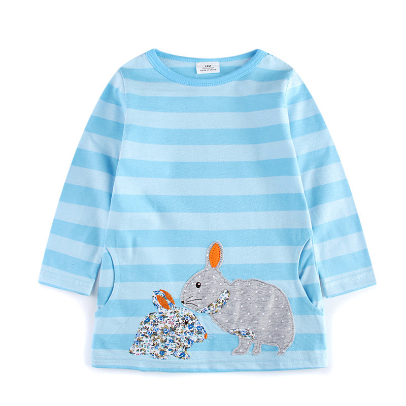 Girls dresses autumn spring children clothes long sleeve striped baby clothing cotton with applique cute cartoon rabbits dress