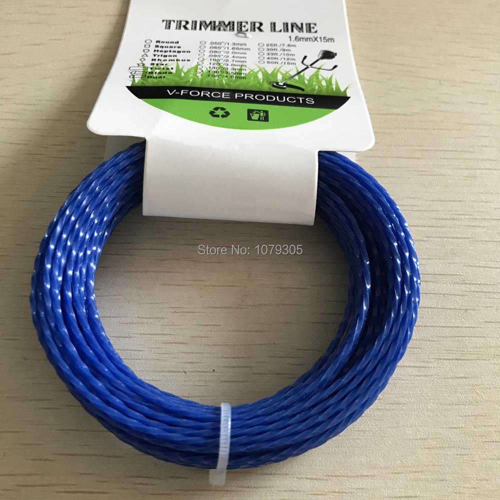 Grass Trimmer Line 1.6mm Diameter 15M Twist Square/spiral for Brush Cutter Power Nylon Line Grass CuttingGrass Trimmer Line 1.6mm Diameter 15M Twist Square/spiral for Brush Cutter Power Nylon Line Grass Cutting