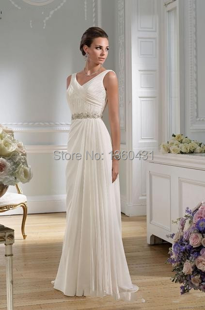 d695b1d451 2015 Dynamic Elegant Classic V Neck Bridal Gowns A Line Wedding Dress  Backless Draped Crystal Chiffon Beach Wedding Dresses-in Wedding Dresses  from Weddings ...