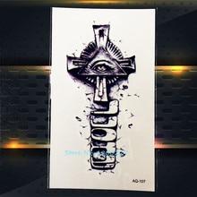 1PC Cool Temporary Tattoo Stickers Cross For Men PAQ-107 Evil Spirit Eye Design Women Tattoo Demon Devil Tattoo Paste Paper