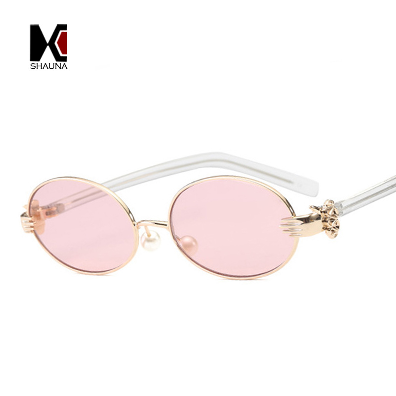 SHAUNA Fashion Women Oval Sunglasses Venetian Pearl Nose Pad Hands <font><b>Sharp</b></font> <font><b>Glasses</b></font> FrameTinted/Clear Lens
