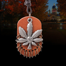 Lovely Maple Leaf Long Beaded Chain Canada Tree Pendant Necklace Women Office Lady Real Leather Jewelry Bijoux Gifts(China)