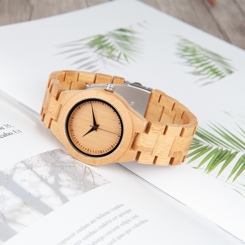 Watch Women Movement-Wristwatch Paper-Giftbox BOBO Quartz 2035 Bamboo BIRD with Relogio